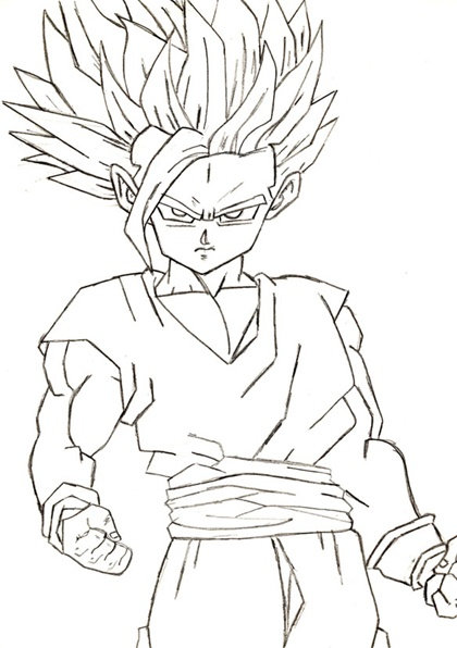 Pin coloriage sangoku super de dragon ball z ss4 on pinterest - Sangoku dessin ...